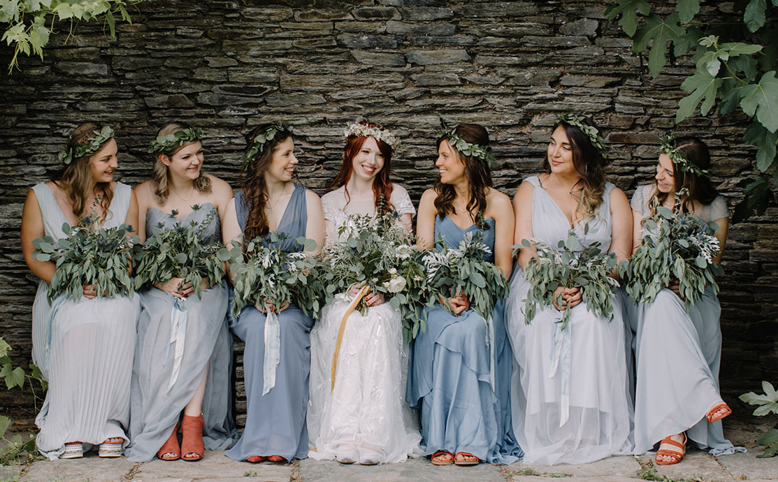 Devon Wedding Hair - Bridal hair - bride with bridesmaids - flower crown