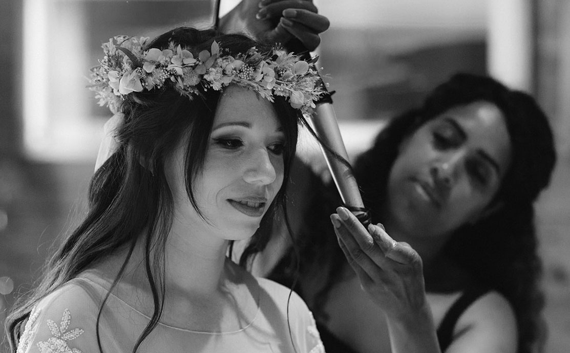 Devon Wedding Hair - Hair styling with Kyrelle - Bride with flower crown